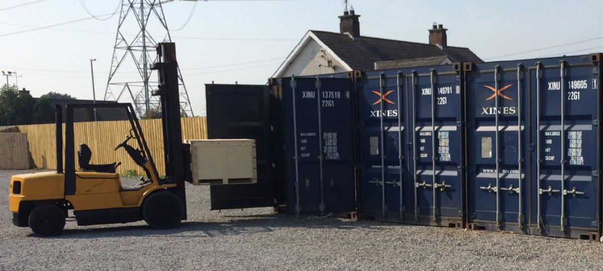 Self-storage containers forklift available  at Coalisland site.